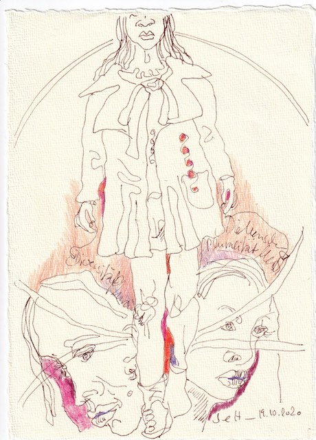 Tagebucheintrag 19.10.2020, Pluralität, 20 x 15 cm, Tinte und Buntstift auf Silberburg Büttenpapier, Zeichnung von Susanne Haun (c) VG Bild-Kunst, Bonn 2020