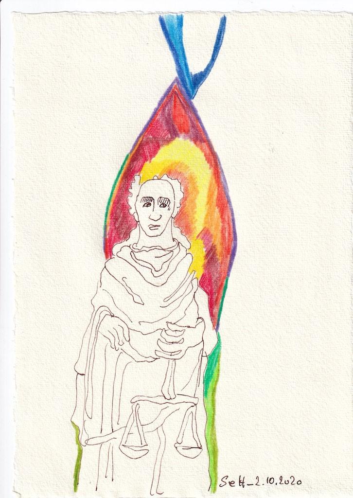Tagebucheintrag 02.10.2020, Austariert, 20 x 15 cm, Tinte und Buntstift auf Silberburg Büttenpapier, Zeichnung von Susanne Haun (c) VG Bild-Kunst, Bonn 2020 Haun (c) VG Bild-Kunst, Bonn 2020