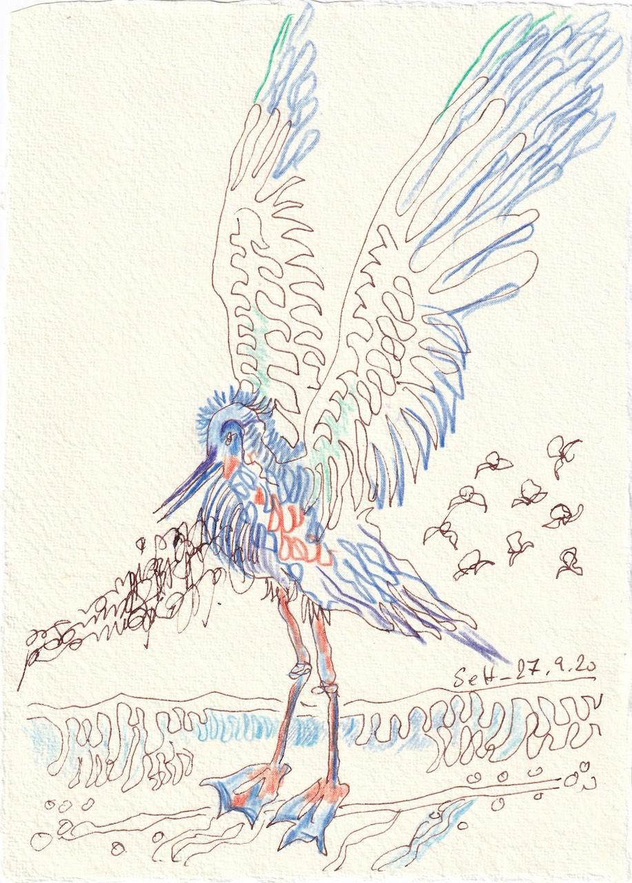 Tagebucheintrag 27.09.2020, Sehnsucht nach dem Meer, 20 x 15 cm, Tinte und Buntstift auf Silberburg Büttenpapier, Zeichnung von Susanne Haun (c) VG Bild-Kunst, Bonn 2020