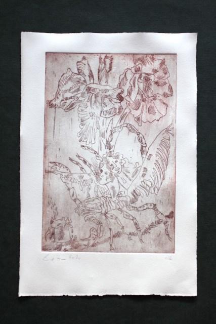 1-2, VERKAUFT .. Auch Engel lassen sich gerne tragen, 29,5 x 19,5 cm, 38,5 x 26 cm, Hahnemühle 150g, weiß matt, Kuperdruckpapier, Strichätzung von Susanne Haun