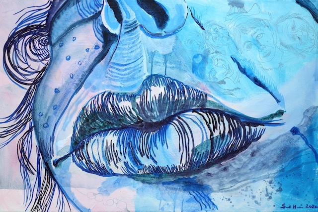 Kuss Mund, Gemälde von Susanne Haun, Acryl und Tusche auf Leinwand, 60 x 90 cm (c) VG Bild-Kunst, Bonn 2020