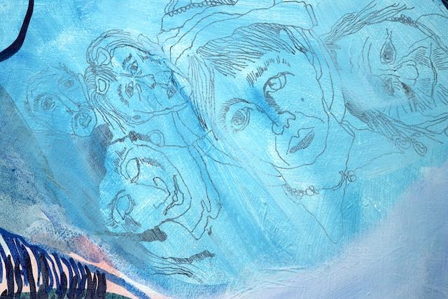 Zustand - Kuss Mund, Gemälde von Susanne Haun, Acryl und Tusche auf Leinwand, 60 x 90 cm (c) VG Bild-Kunst, Bonn 2020