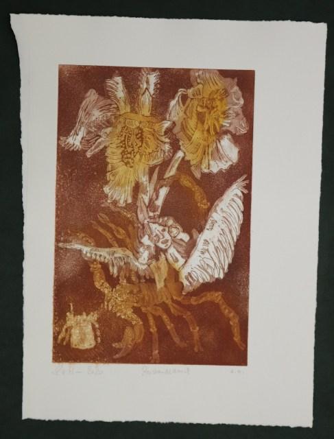 3. Zustandsdruck, Auch Engel lassen sich gerne tragen, 29,5 x 19,5 cm, 38,5 x 26 cm, Hahnemühle 300g, weiß matt, Kuperdruckpapier, Aquatinta von Susanne Haun