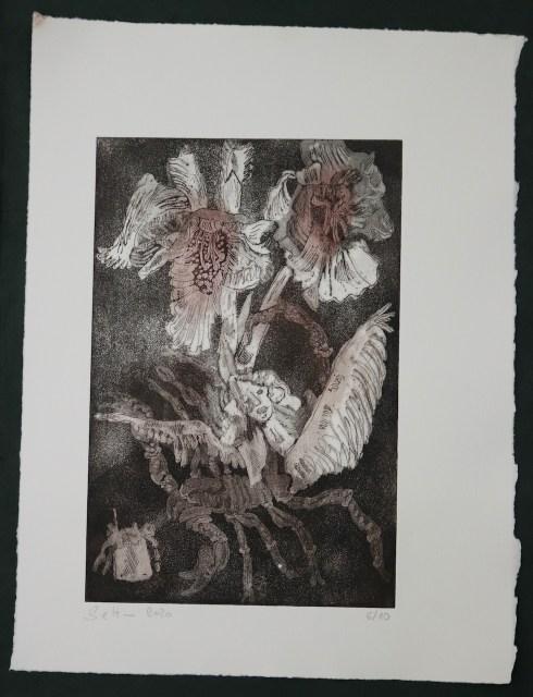 6-10, Auch Engel lassen sich gerne tragen, 29,5 x 19,5 cm, 38,5 x 26 cm, Hahnemühle 300g, weiß matt, Kuperdruckpapier, Aquatinta von Susanne Haun