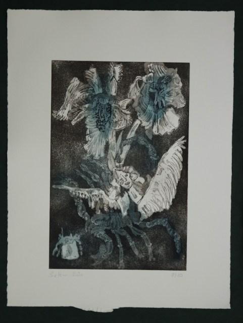 8-10, Auch Engel lassen sich gerne tragen, 29,5 x 19,5 cm, 38,5 x 26 cm, Hahnemühle 300g, weiß matt, Kuperdruckpapier, Aquatinta von Susanne Haun