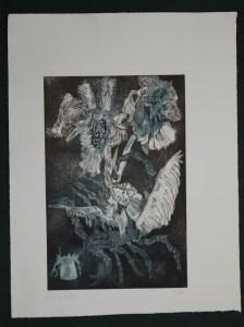 9-10, Auch Engel lassen sich gerne tragen, 29,5 x 19,5 cm, 38,5 x 26 cm, Hahnemühle 300g, weiß matt, Kuperdruckpapier, Aquatinta von Susanne Haun