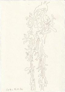 Tagebucheintrag 12.11.2020, Der Fluß des Lebens, 20 x 15 cm, Tinte auf Silberburg Büttenpapier, Zeichnung von Susanne Haun (c) VG Bild-Kunst, Bonn 2020