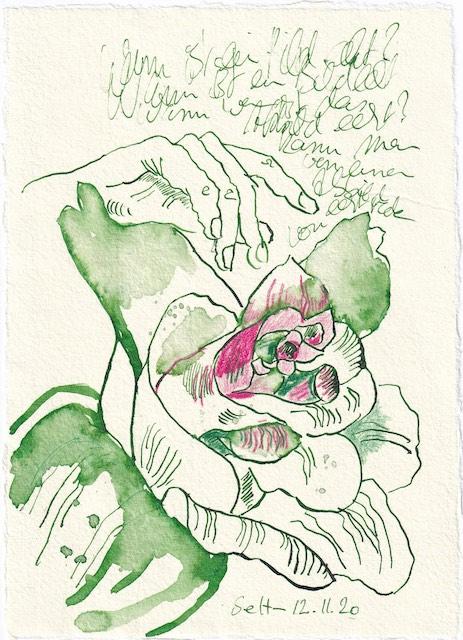 Tagebucheintrag 12.11.2020, Wann ist ein Bild echt, 20 x 15 cm, Tinte und Buntstift auf Silberburg Büttenpapier, Zeichnung von Susanne Haun (c) VG Bild-Kunst, Bonn 2020