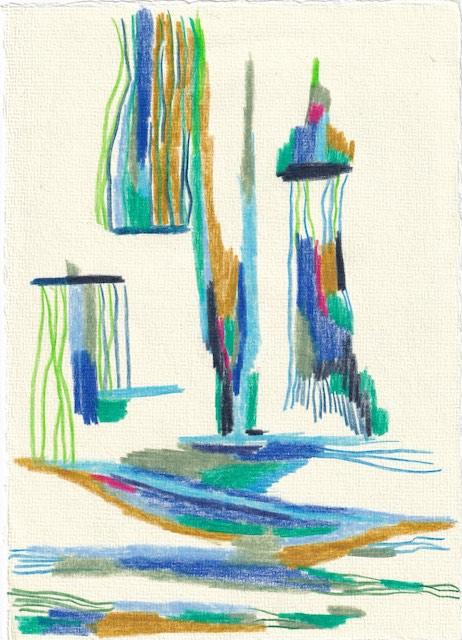 Tagebucheintrag 24.10.2020, Ein Labyrinth, 20 x 15 cm, Buntstift auf Silberburg Büttenpapier, Zeichnung von Susanne Haun (c) VG Bild-Kunst, Bonn 2020