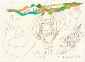 Tagebucheintrag 31.10.2020, Heute ist Religion, 20 x 15 cm, Tinte und Buntstift auf Silberburg Büttenpapier, Zeichnung von Susanne Haun (c) VG Bild-Kunst, Bonn 2020