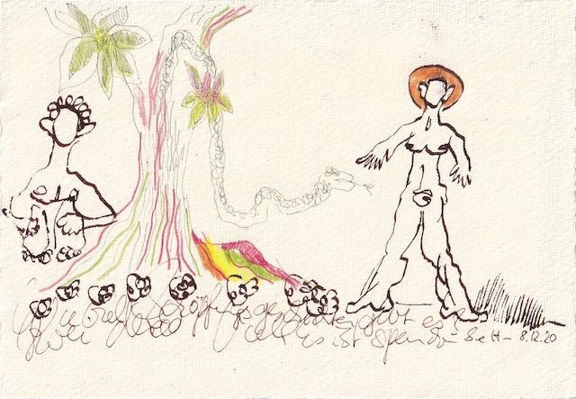 Tagebucheintrag 08.12.2020, Schöpfungsgeschichte x 2, 20 x 15 cm, Tinte und Aquarell auf Silberburg Büttenpapier, Zeichnung von Susanne Haun (c) VG Bild-Kunst, Bonn 2020