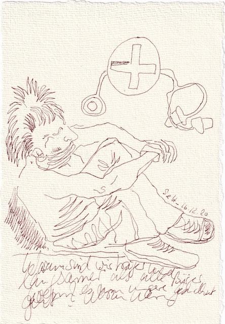 Tagebucheintrag 16.12.2020, Dekameron, Warum sind wir träge, 20 x 15 cm, Tinte und Aquarell auf Silberburg Büttenpapier, Zeichnung von Susanne Haun (c) VG Bild-Kunst, Bonn 2020