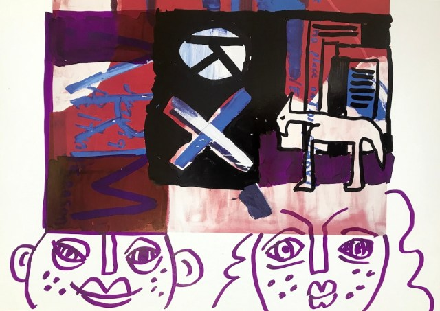 Kunst, 30,5 x 22,7 cm, Marker auf Katalog, Aneignung, Zeichung von Susanne Haun (c) VG Bild-Kunst, Bonn 2021