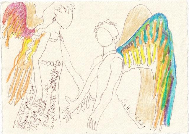 Tagebucheintrag 05.01.2021, Gesichtslose Engel, 20 x 15 cm, Tinte und Aquarell auf Silberburg Büttenpapier, Zeichnung von Susanne Haun (c) VG Bild-Kunst, Bonn 2021