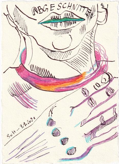 Tagebucheintrag 09.01.2021, Abgenschnitten, 20 x 15 cm, Tinte und Aquarell auf Silberburg Büttenpapier, Zeichnung von Susanne Haun (c) VG Bild-Kunst, Bonn 2021