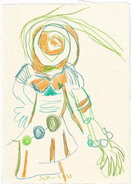 Tagebucheintrag 09.01.2021, Grüne Sicht, 20 x 15 cm, Buntstift auf Silberburg Büttenpapier, Zeichnung von Susanne Haun (c) VG Bild-Kunst, Bonn 2021