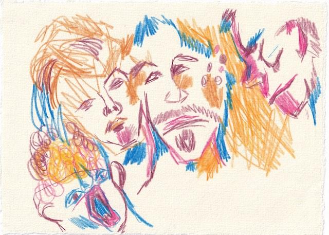 Tagebucheintrag 11.01.2021, Inspiriert vom LaLaLand, 20 x 15 cm, Tinte und Aquarell auf Silberburg Büttenpapier, Zeichnung von Susanne Haun (c) VG Bild-Kunst, Bonn 2021