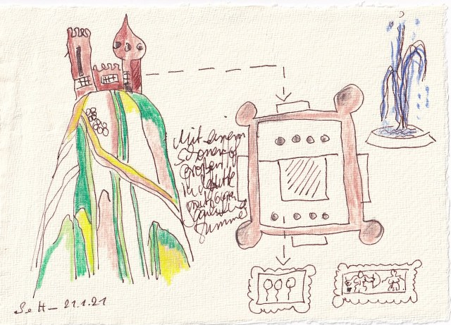 Tagebucheintrag 21.01.2021, Dekameron, Mit einem schönen großen Hof - Version 2, 20 x 15 cm, Tinte und Buntstift auf Silberburg Büttenpapier, Zeichnung von Susanne Haun (c) VG Bild-Kunst, Bonn 2021