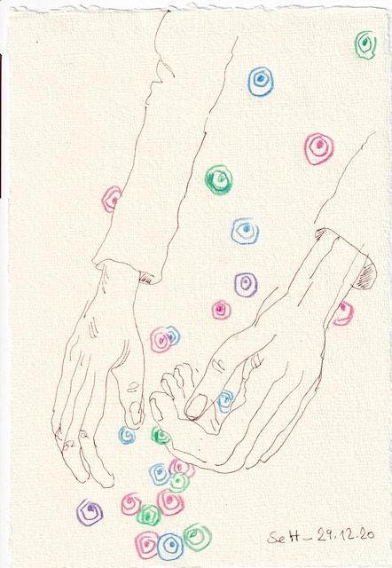 Tagebucheintrag 29.12.2020, Ich fange die Farbperlen auf, 20 x 15 cm, Tinte und Aquarell auf Silberburg Büttenpapier, Zeichnung von Susanne Haun (c) VG Bild-Kunst, Bonn 2020