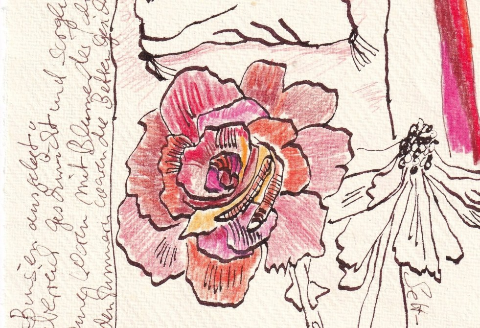 Tagebucheintrag 06.02.2021, Detail, Dekameron, In den Zimmern waren die Betten, Version 2, 20 x 15 cm, Tinte und Buntstift auf Silberburg Büttenpapier, Zeichnung von Susanne Haun (c) VG Bild-Kunst, Bonn 2021