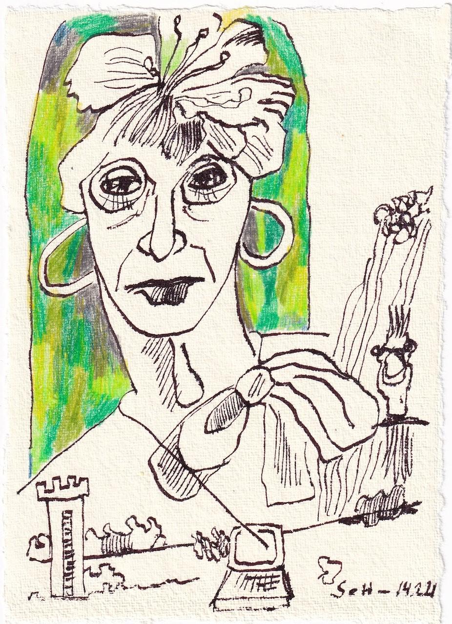 Tagebucheintrag 14.02.2021, Zooming in Gruen, Portrait, 20 x 15 cm, Buntstift und Tinte auf Silberburg Büttenpapier, Zeichnung von Susanne Haun (c) VG Bild-Kunst, Bonn 2021