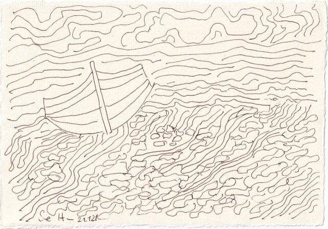 Tagebucheintrag 21.01.2021, Auf hoher See, 20 x 15 cm, Tinte auf Silberburg Büttenpapier, Zeichnung von Susanne Haun (c) VG Bild-Kunst, Bonn 2021 - gedreht