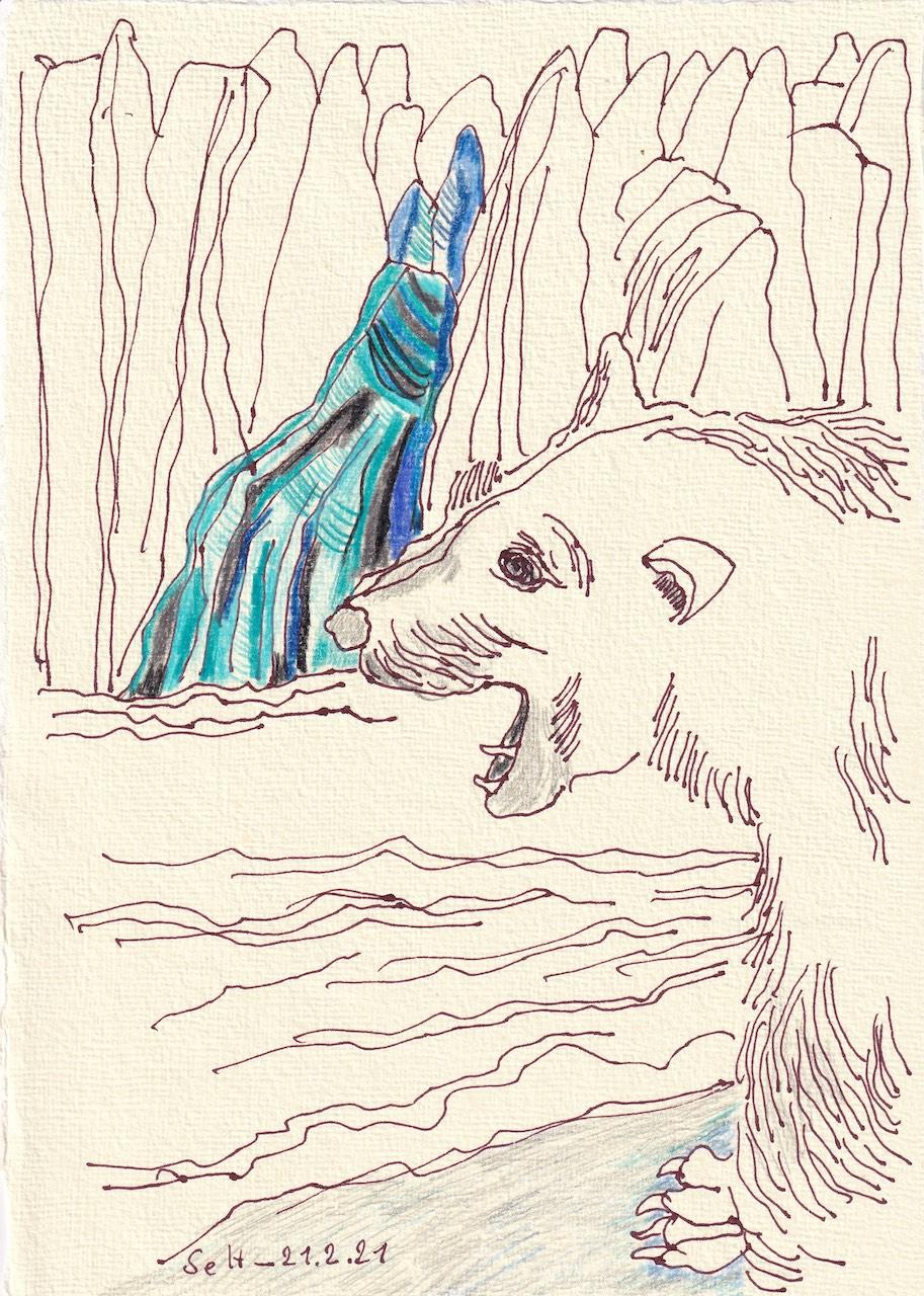 crossart for future, Gletscherschmelze, 30 x 20 cm, Buntstift und Tinte auf Silberburg Büttenpapier, Zeichnung von Susanne Haun (c) VG Bild-Kunst, Bonn 2021