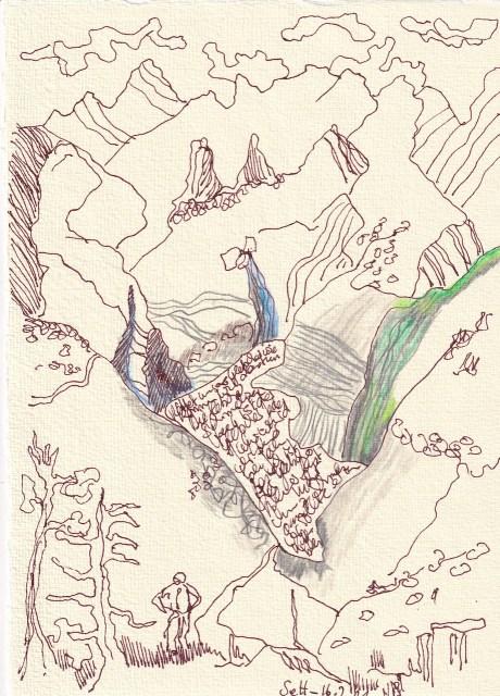 crossart for future, Gletscherschmelze, Vers. 2, 30 x 20 cm, Buntstift und Tinte auf Silberburg Büttenpapier, Zeichnung von Susanne Haun (c) VG Bild-Kunst, Bonn 2021