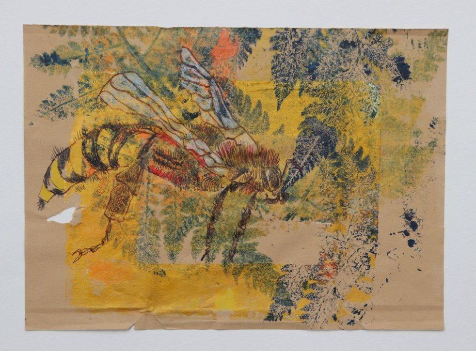 2021 02 07 Bienenkönigin, 40 x 30 cm, Druck und Zeichnung von Kerstin Mempel und Susanne Haun (c) VG Bild-Kunst, Bonn 2021