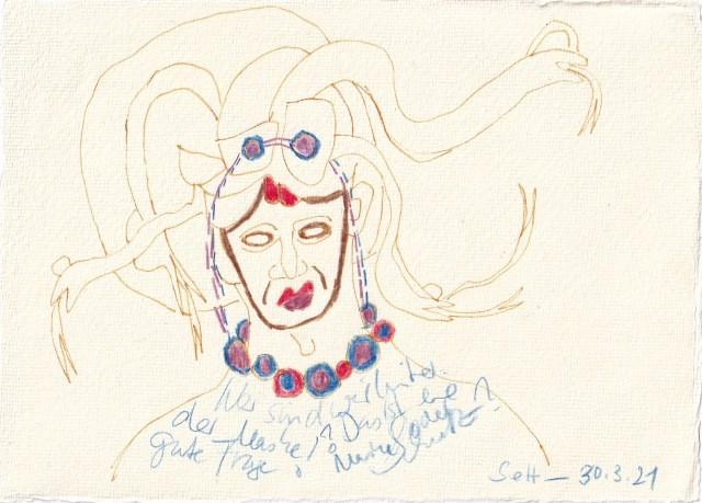 Tagebucheintrag 030.03.2021, Wer sind wir hinter der Maske, 20 x 15 cm, Tinte und Buntstift auf Silberburg Büttenpapier, Zeichnung von Susanne Haun (c) VG Bild-Kunst, Bonn 2021