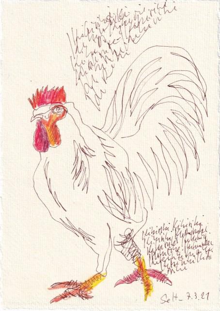Tagebucheintrag 07.03.2021, Kikiriki, eine Metamorphose, 1, 20 x 15 cm, Tinte und Buntstift auf Silberburg Büttenpapier, Zeichnung von Susanne Haun (c) VG Bild-Kunst, Bonn 2021