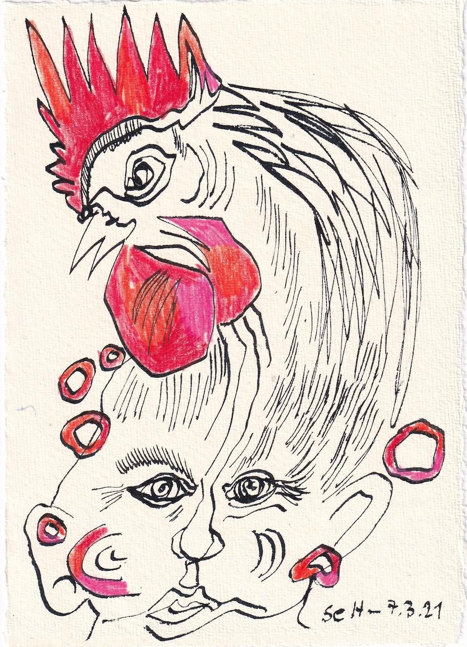 Tagebucheintrag 07.03.2021, Kikiriki, eine Metamorphose, 2, 20 x 15 cm, Tinte und Buntstift auf Silberburg Büttenpapier, Zeichnung von Susanne Haun (c) VG Bild-Kunst, Bonn 2021