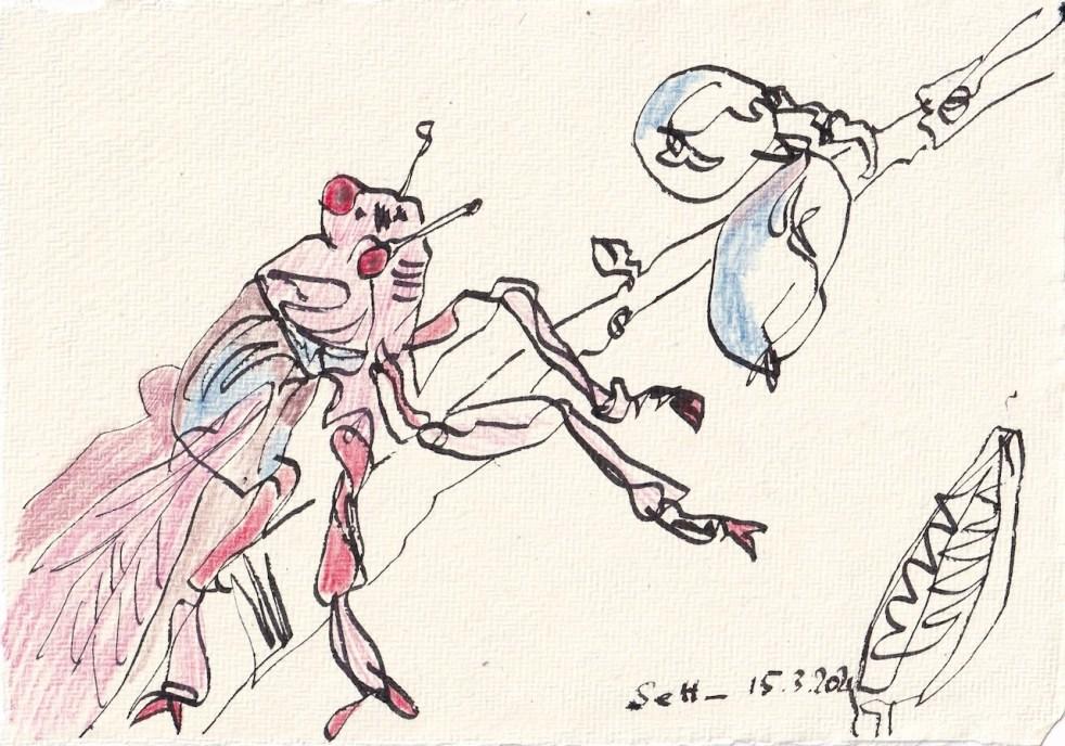 Tagebucheintrag 15.3.2021, Das Dekameron, Zikarden in Ölivenbäumen, Version 2, 20 x 15 cm, Buntstift und Tinte auf Silberburg Büttenpapier, Zeichnung von Susanne Haun (c) VG Bild-Kunst, Bonn 2021