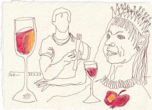 Tagebucheintrag 25.02.2021, Dekameron, An der Tafel wurde gelacht, Version 1, 20 x 15 cm, Buntstift und Tinte auf Silberburg Büttenpapier, Zeichnung von Susanne Haun (c) VG Bild-Kunst, Bonn 2021