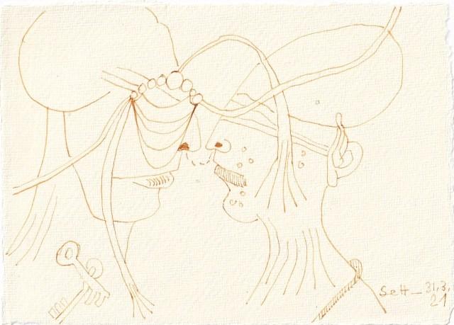 Tagebucheintrag 31.03.2021, Kommunikation, Version 1, 20 x 15 cm, Tinte und Buntstift auf Silberburg Büttenpapier, Zeichnung von Susanne Haun (c) VG Bild-Kunst, Bonn 2021