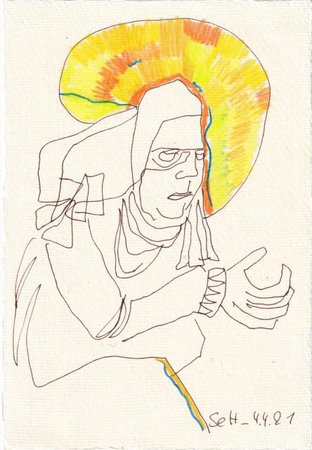 Tagebucheintrag 04.04.2021, Inspiriert von Grien, Die hl. Anna selbdritt, V2,20 x 15 cm, Tinte und Buntstift auf Silberburg Büttenpapier, Zeichnung von Susanne Haun (c) VG Bild-Kunst, Bonn 2021